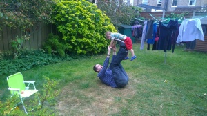 Daddy having a go at acrobats.